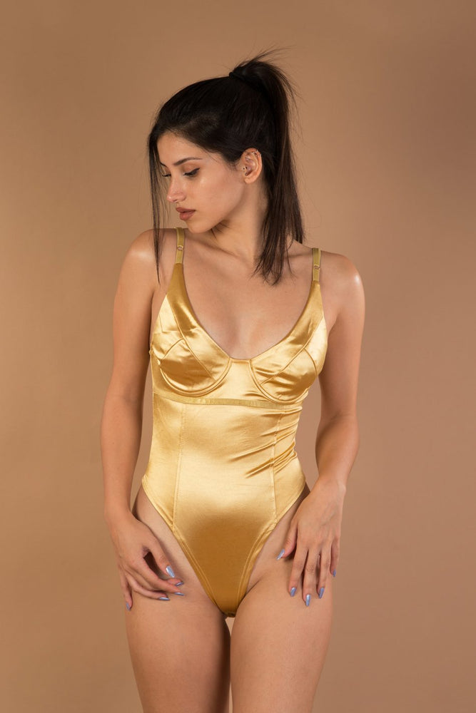 Beige sleeveless satin bodysuit