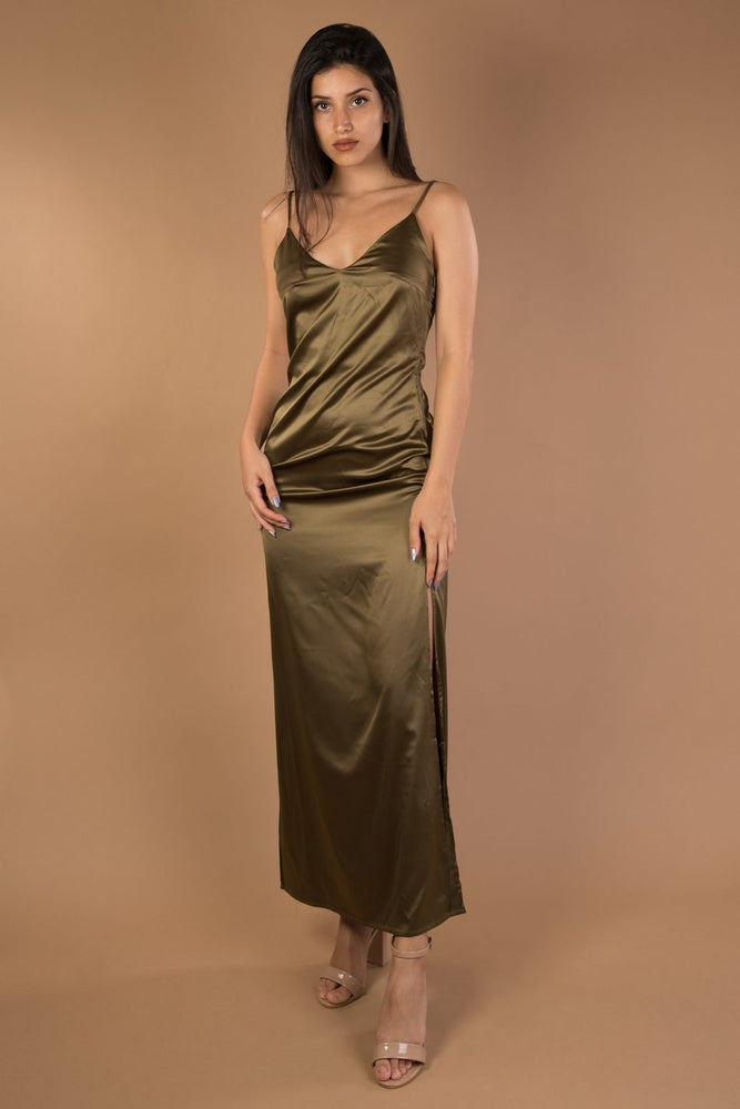 Green V-neck Split Maxi Satin Dress