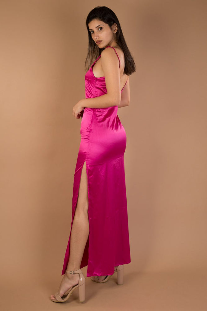 Pink fuchsia V-neck split maxi satin dress