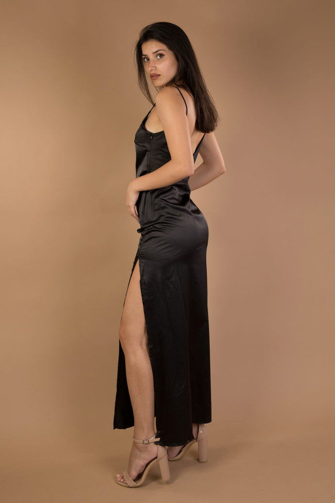 Black V-neck split maxi satin dress