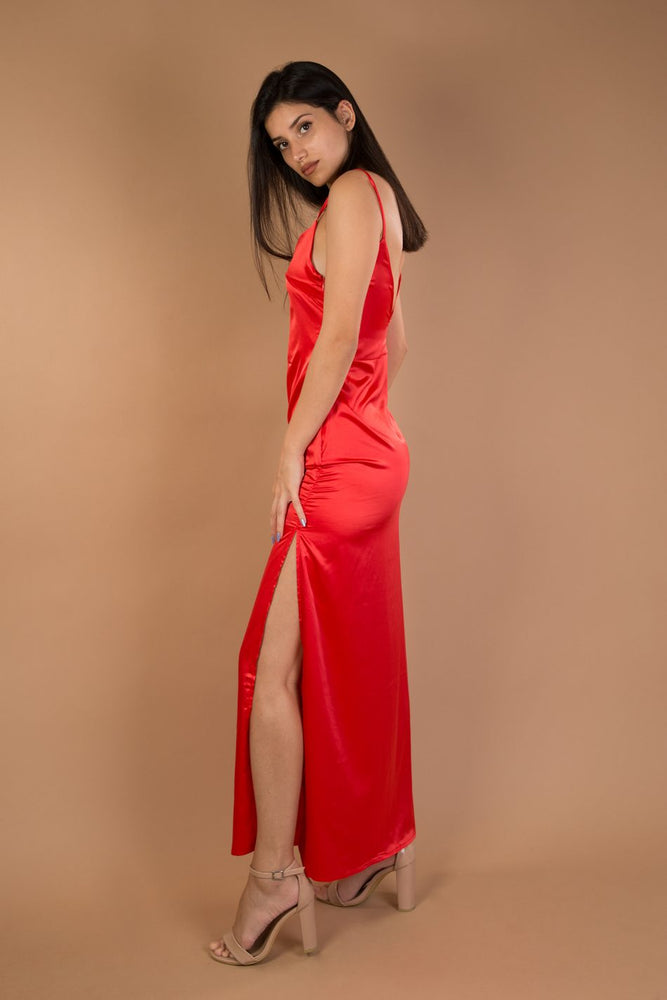 Red V-neck split maxi satin dress