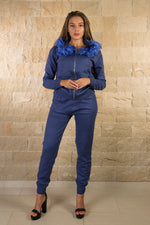 Blue knitted hooded tracksuit