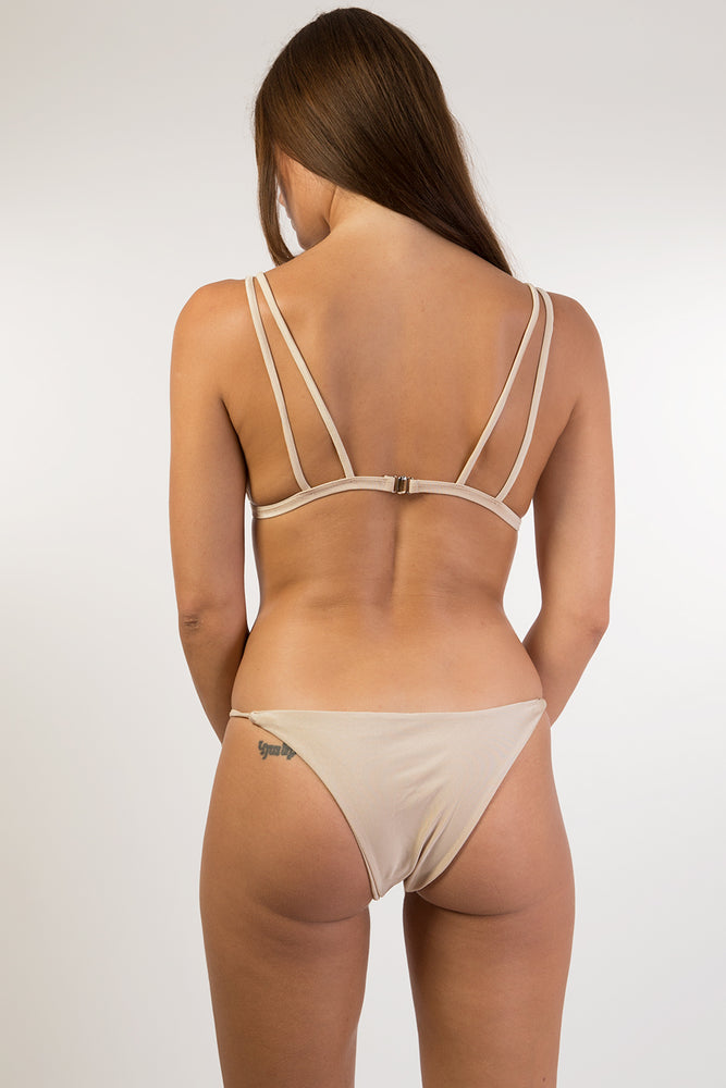 Beige Shiny Gold Bikini Set