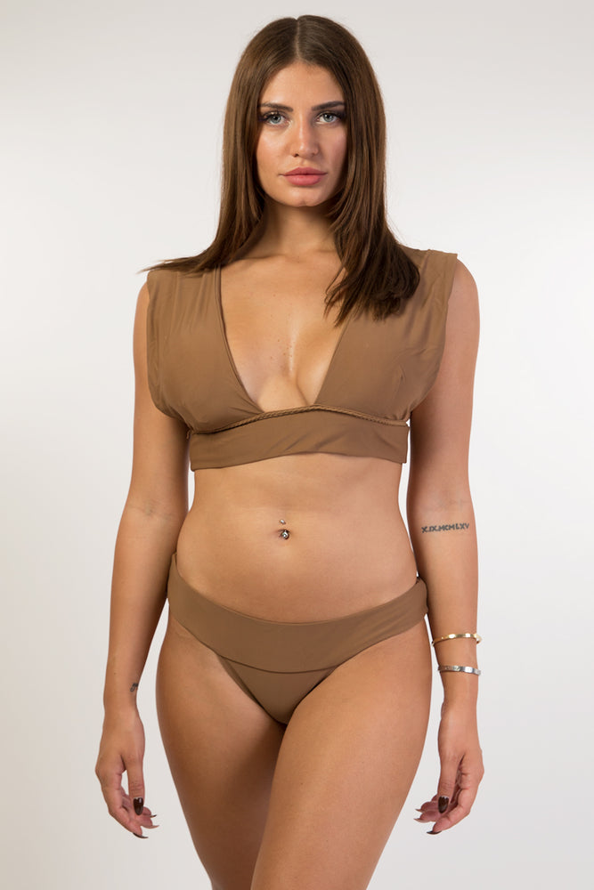 Brown Vintage Detail Bikini Set