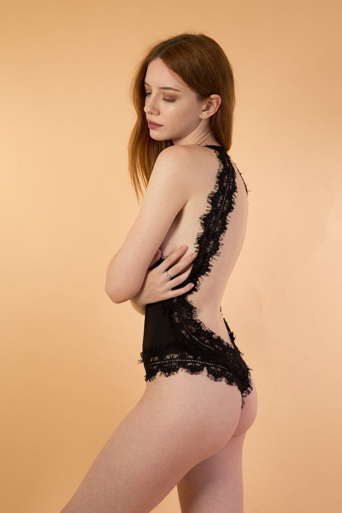 Black Lace Sexy Open Back Lingerie Bodysuit