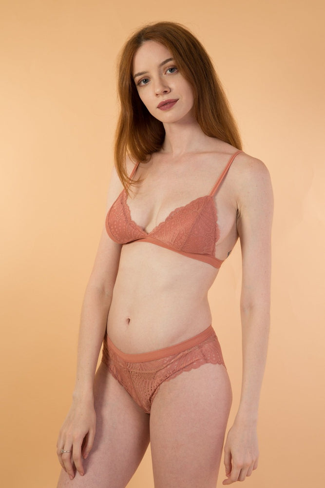 Beige Lace Triangle lingerie Set