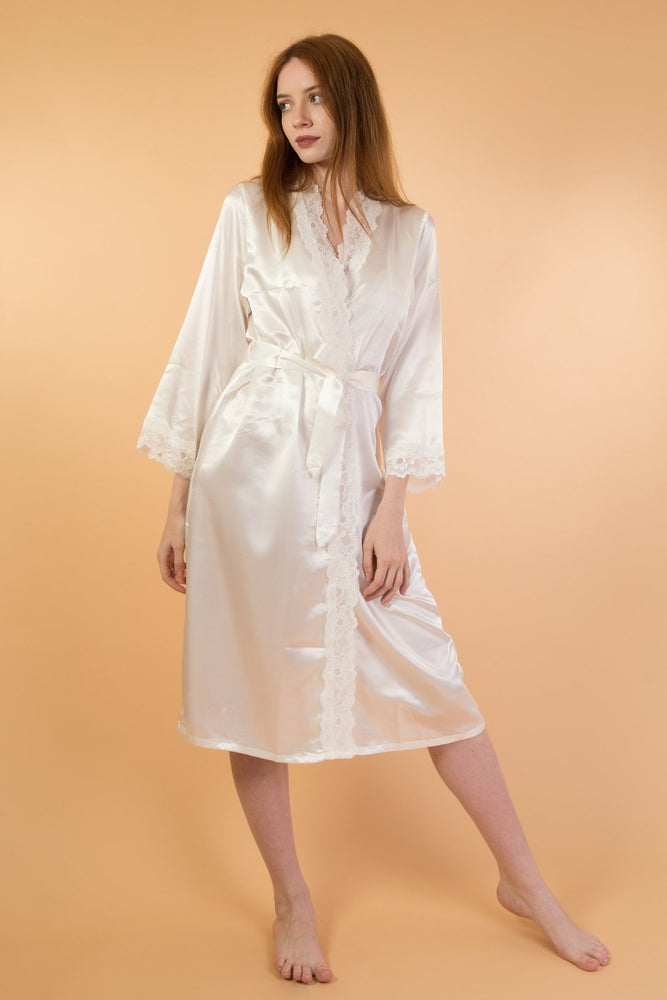 White soft satin long sleeve bride robe