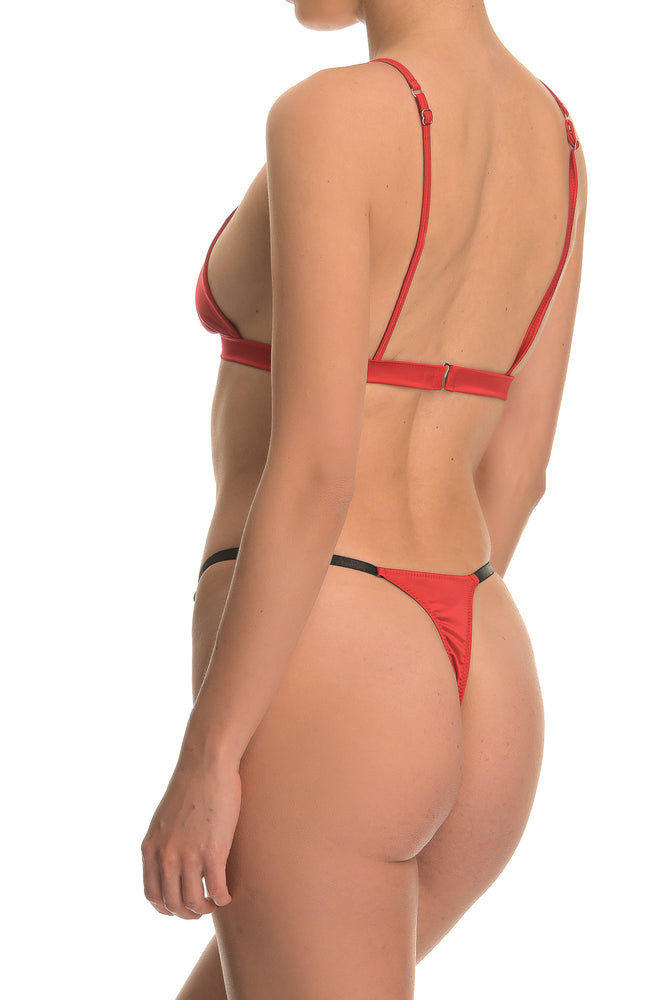 Red Satin Triangle Lingerie Set
