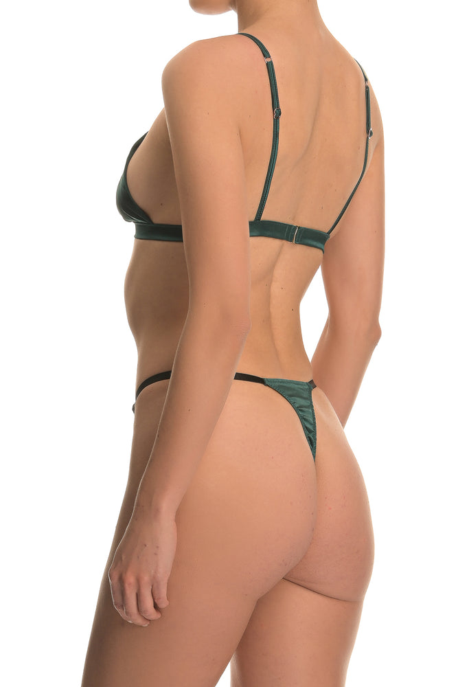 Green Satin Triangle Lingerie Set