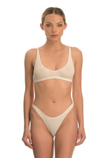 Beige Cotton Ribbed Bralette Lingerie Set