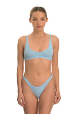 Baby Blue Ribbed Cotton Bralette Lingerie Set