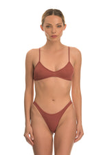 Brick Red Ribbed Cotton Bralette Lingerie Set