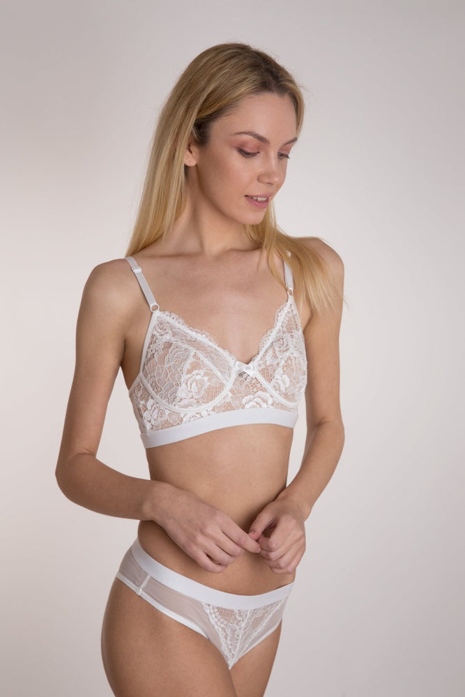 White Soft Lace Mid Waist Lingerie Set