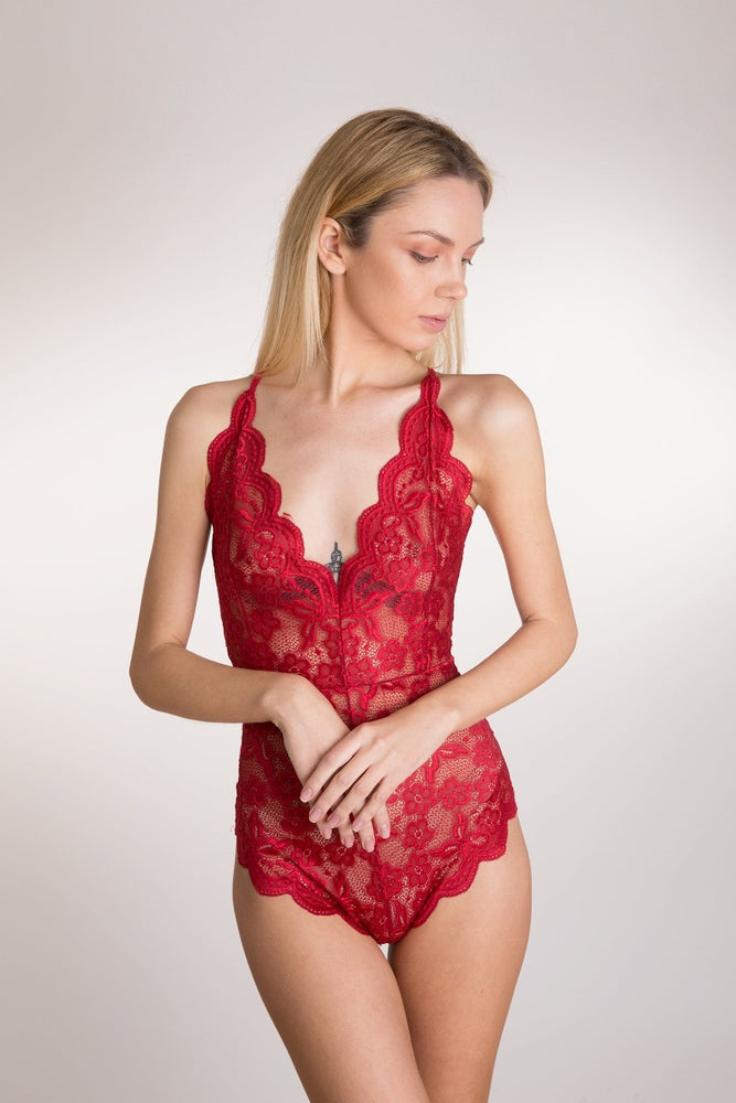 Red Lace Deep V Lingerie Bodysuit
