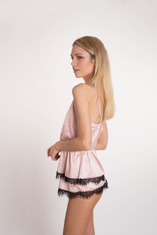 Pink Satin Black Lace Short Pyjama Set