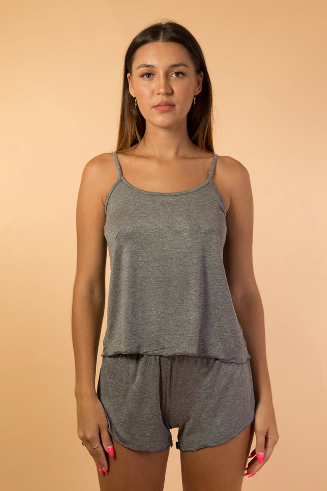 Grey Sleeveless Top and Short pant Pyjama Set