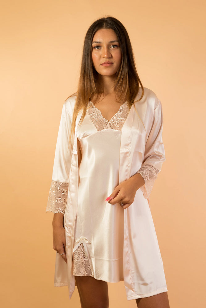Beige satin long sleeve robe