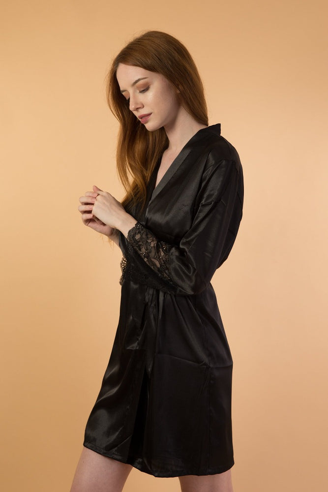 Black satin long sleeve robe