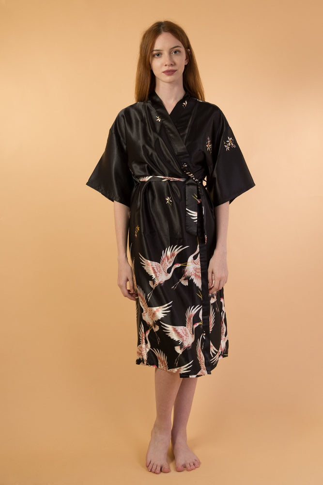 Black Animal Print Five-Point Sleeve Robe