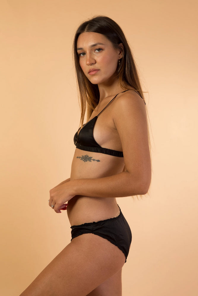 Black Soft Satin Triangle Lingerie Set