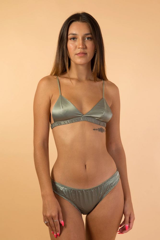 Green Soft Satin Triangle Lingerie Set
