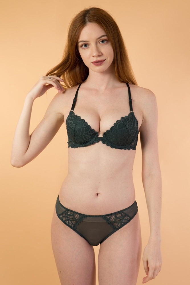 Green Front Clip Push Up Lingerie Set