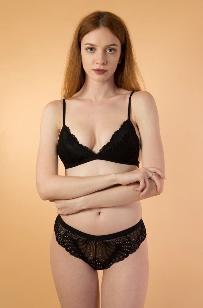 Black Lace Triangle lingerie Set