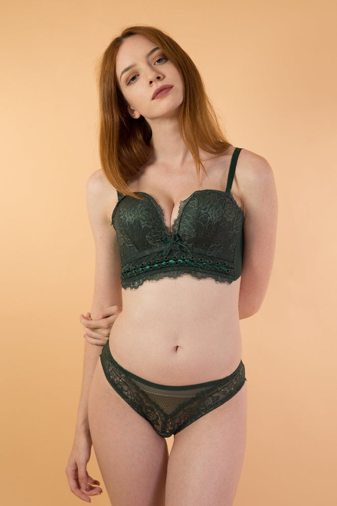 Green Strapless Push Up lingerie set