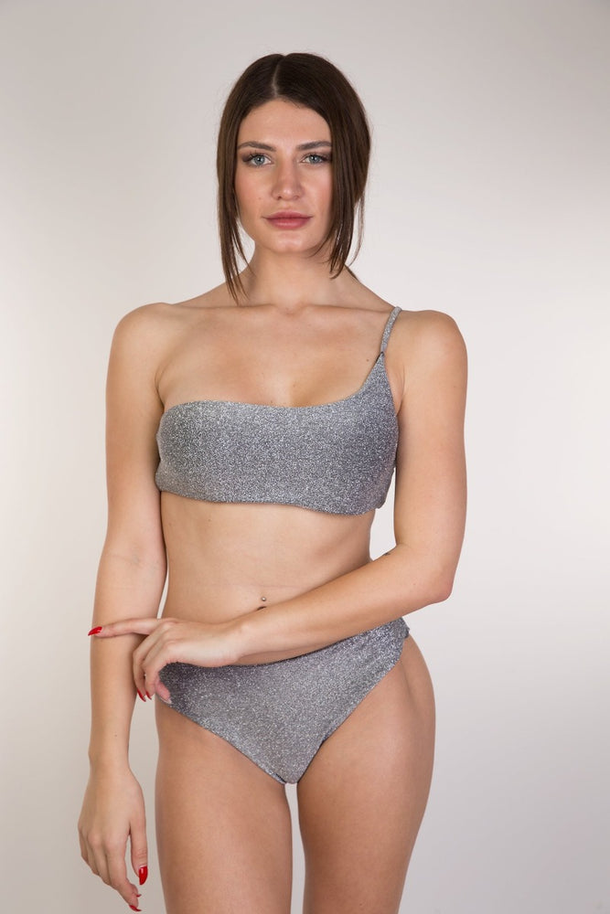 Grey Glitter One Shoulder Bikini set