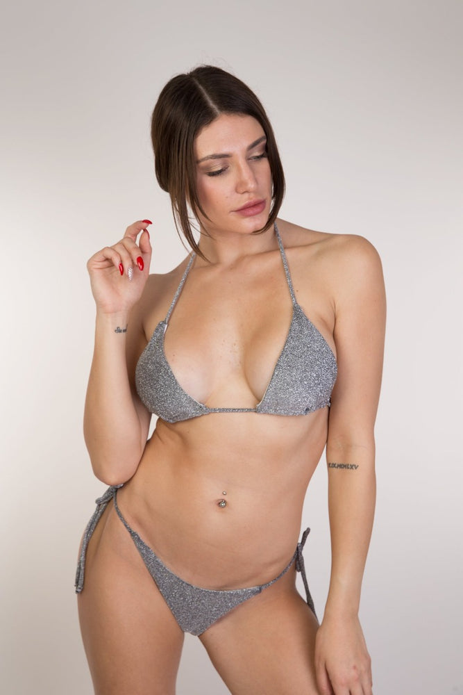 Grey Glitter Triangle Bikini Set
