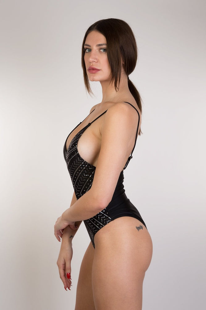 Black shiny Printed V One Piece