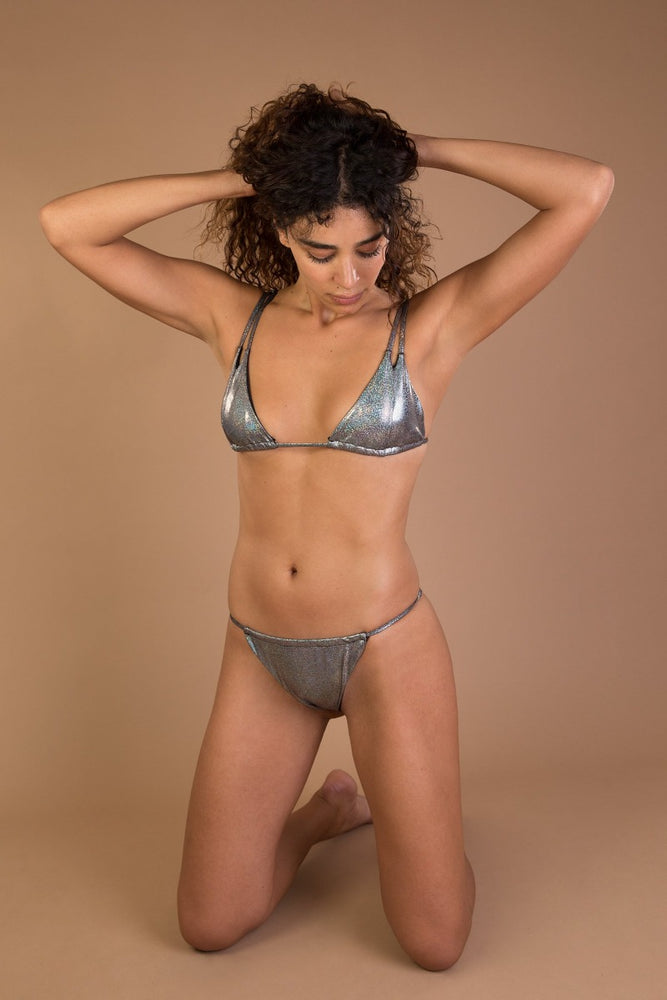 Grey Shiny Glitter Triangle Bikini Set