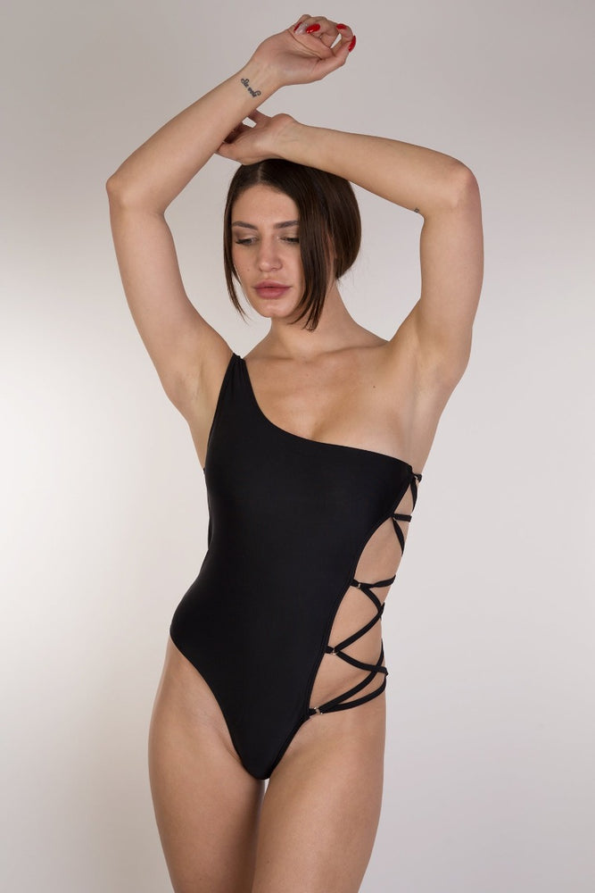Black One Shoulder Lace up one piece