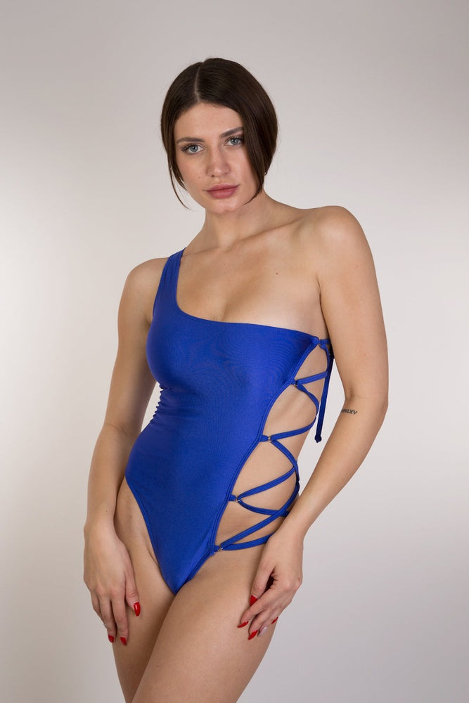 Blue One Shoulder Lace up one piece