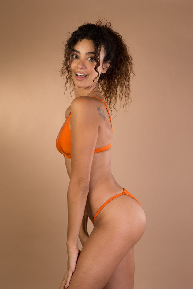 Orange shiny triangle bikini set