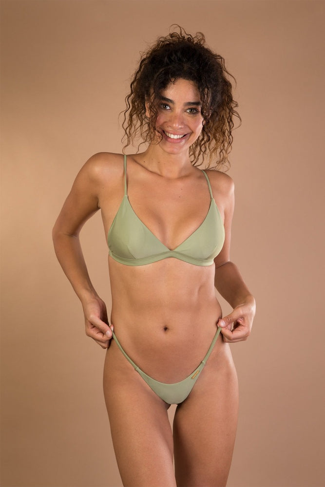 Green khaki shiny triangle bikini set