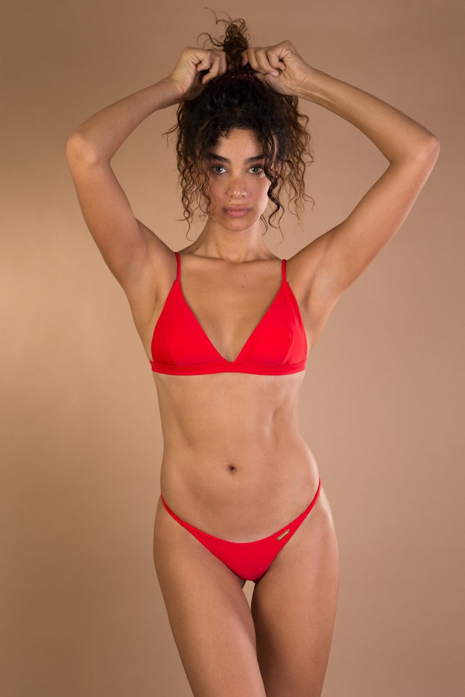 Red shiny triangle bikini set