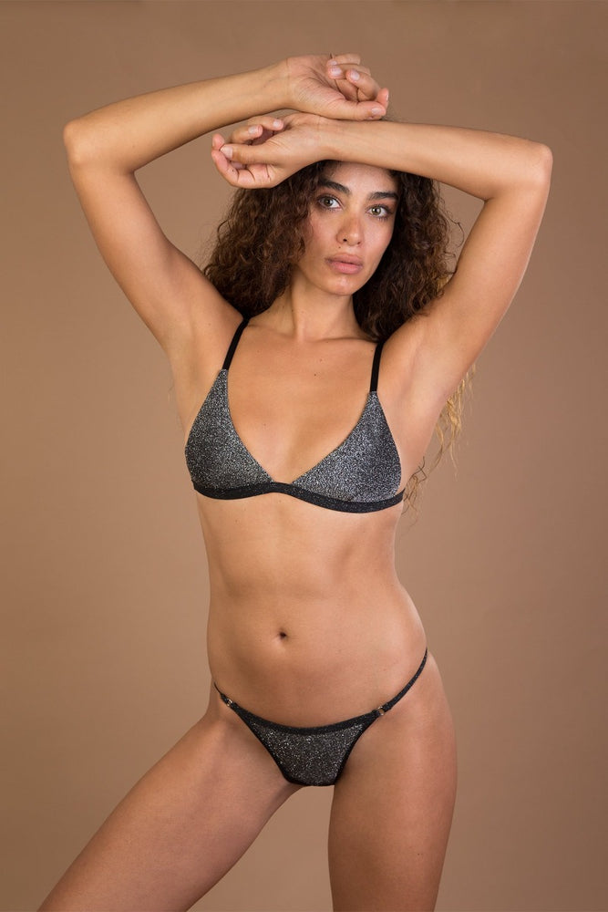Grey glitter high cut bikini set