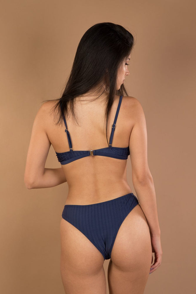 Blue striped bather bikini