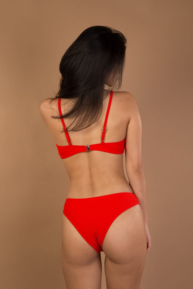 Red striped bather bikini