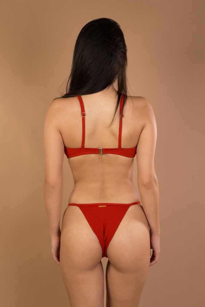 Red ribbed high rise bikini