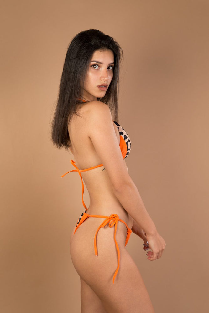 Orange patchwork zebra triangle bikini