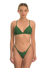 Green shiny triangle bikini set