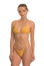 Yellow ribbed tie back bikini set