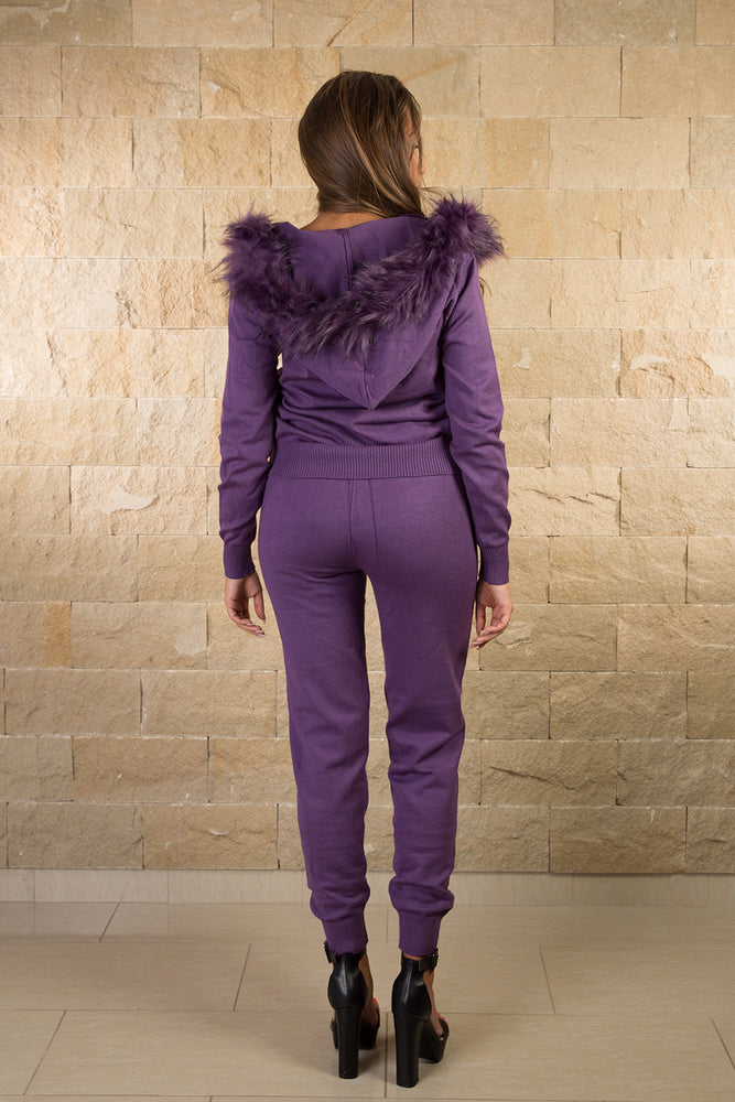 Purple knitted hooded tracksuit