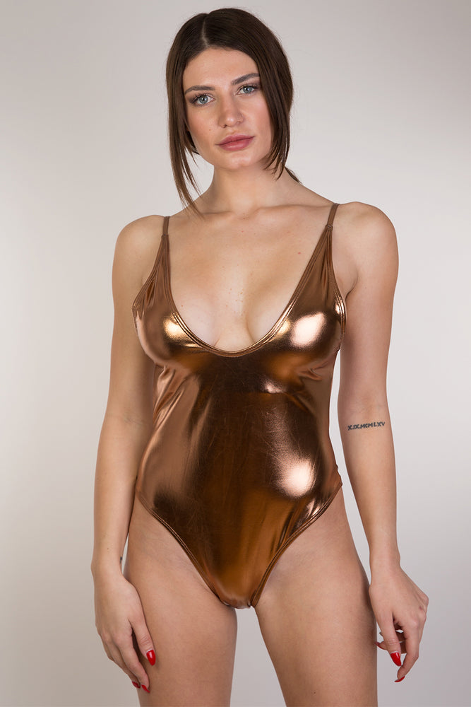 Bronze Shiny One piece swimwear