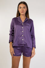 Purple long sleeves satin pyjama set