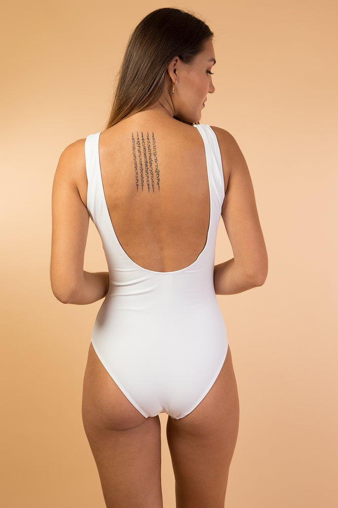 White Scoop Open Back One Piece