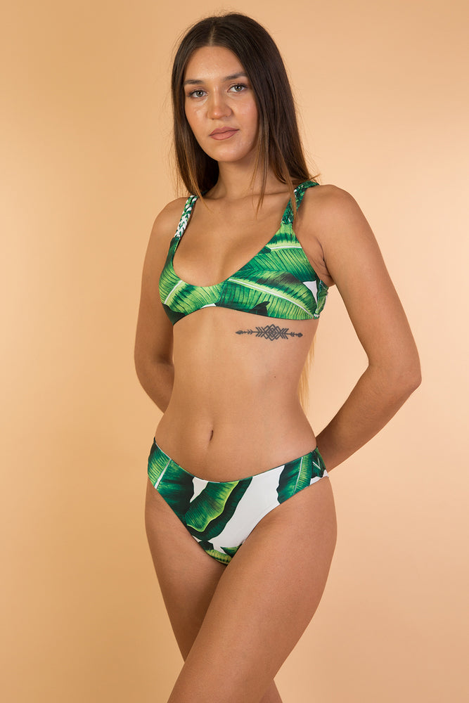 Green Tropical Printed Bikini Set