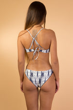 Blue Printed Back Strap Bikini Set
